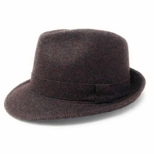 Brown Wool Herringbone Tweed Trilby Hat - Winstone